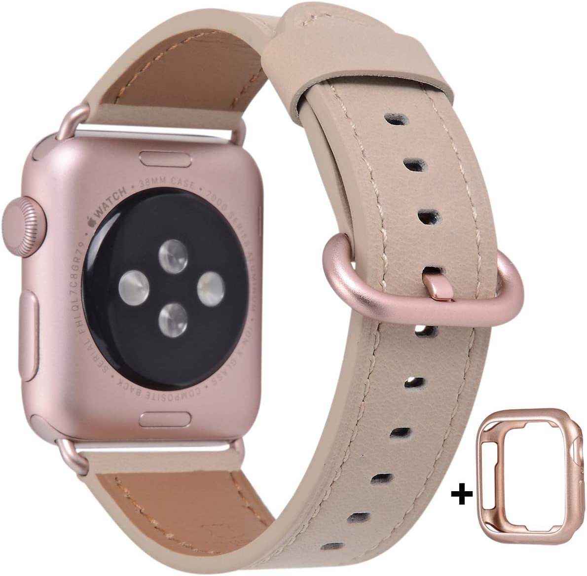 JSGJMY Compatible with Apple Watch Band 38mm 40mm 42mm 44mm Women Men Genuine Leather Replacement Strap for iWatch Series SE 6 5 4 3 2 1 (Light tan with Rose Pink Clasp, 38mm/40mm S/M)