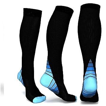 Progoco Calcetines de compresión para Hombres y Mujeres,Ideales para El Uso Diario, Correr