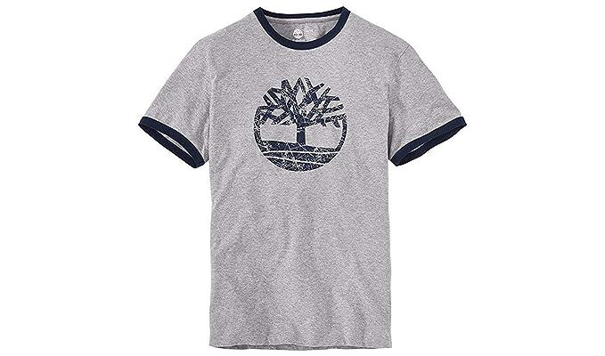 : Timberland Men's Short Sleeve Tree Logo Ringer T