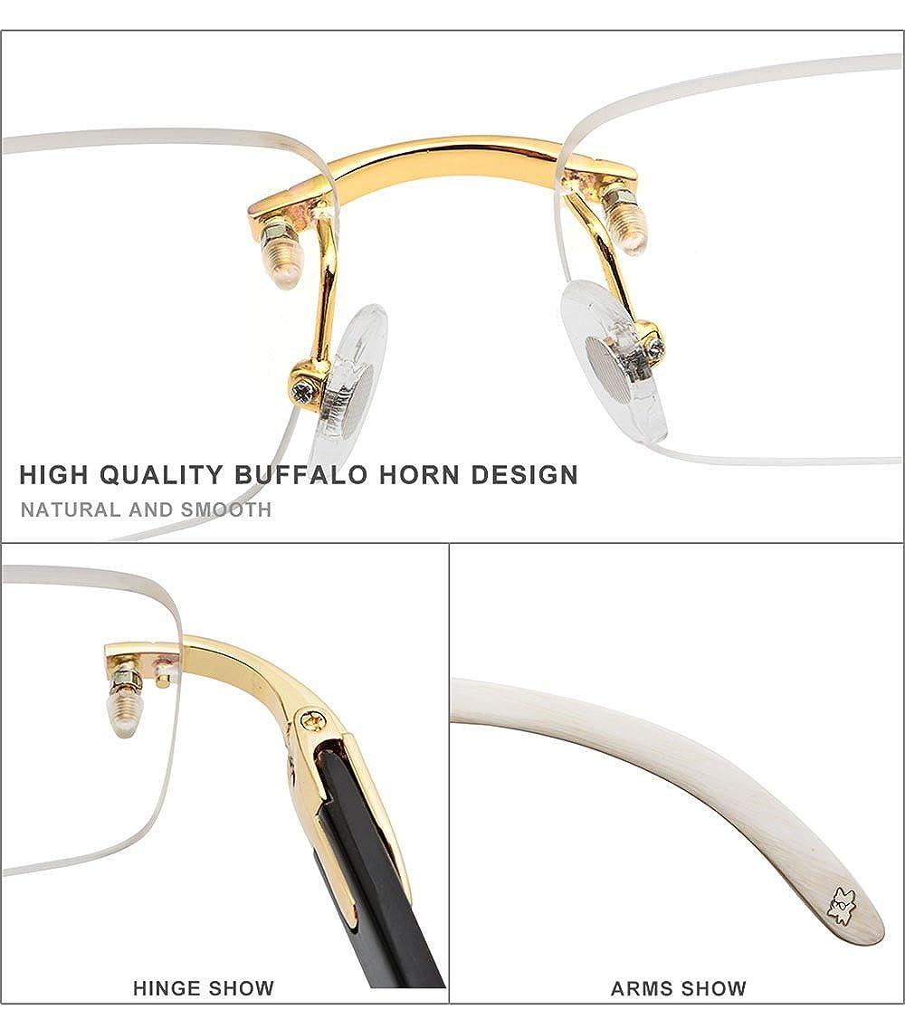 59d69b8d9418 Amazon.com: HEPIDEM Buffalo Horn Handmade Sun Glasses Square Rimless Luxury  Sunglasses 0816 (black, 53): Clothing