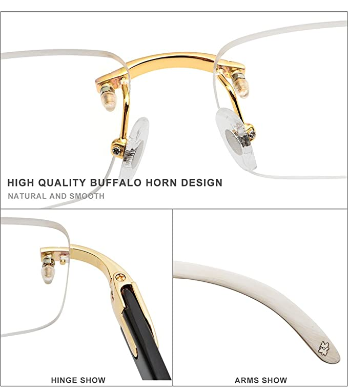 3a93912f63 Amazon.com  HEPIDEM Buffalo Horn Handmade Sun Glasses Square Rimless Luxury  Sunglasses 0816 (black
