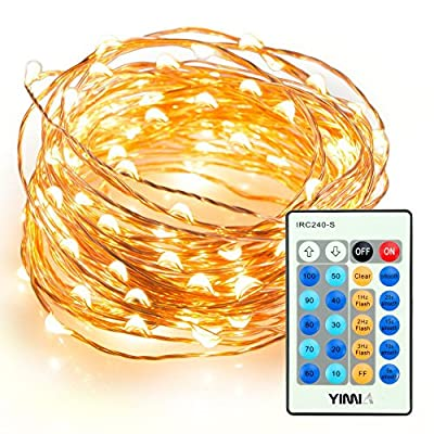 YIMIA Outdoor LED String Lights, 100LED Waterproof Starry StringLights,Copper Wire Lights for Bedroom, Patio, Party, Indoor, Christmas Tree, Decorations, Weddings (33ft , Warm White,Remote Control )
