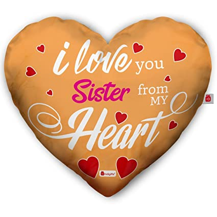 Indigifts Rakshabandhan Gifts For Sister Love You Quote Printed Beige Heart Shape Cushion 16x18 Inches