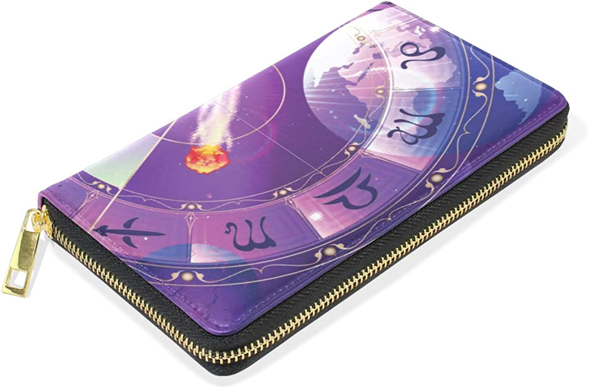 Zodiac Space Time Machine Wallet for Women Leather Zipper Phone Coin Purse