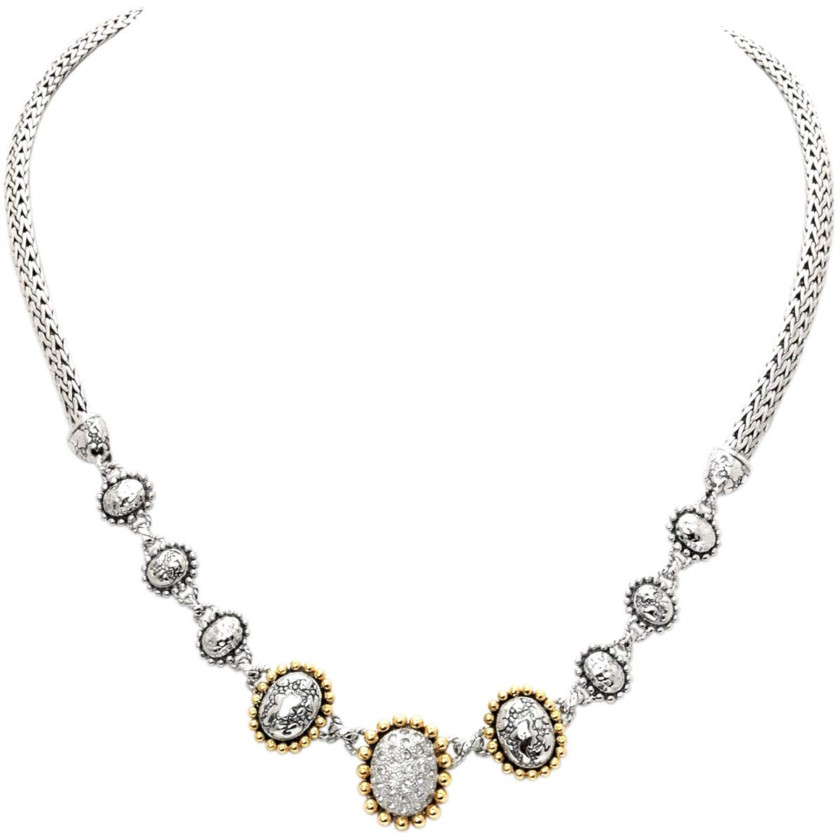 Deni Jewelry 18 Kt Yellow Gold Bezel and 925 Sterling Silver Necklace with Balinese Sunflower Motif and White Topaz Stone Pave Setting with Tulang Naga Chain Oval 3x5 MM for Women and Jewelry Gift by Deni Jewelry