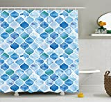 Ambesonne Moroccan Shower Curtain, Oriental Style Arabic Mosaic Pattern in Watercolor Paint Retro Style Artwork Print, Fabric Bathroom Decor Set with Hooks, 84 Inches Extra Long, Light Blue