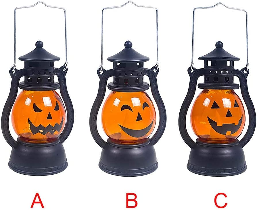 C Weisfe78 Halloween Vintage Pumpkin Lantern Scary Hanging Decor LED Light Lamp Portable Nightlight Indoor Outdoor Party Battery Powered