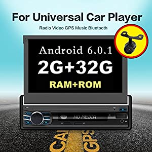 "Android 6.0 4-Core 2G 32G Single Din 7"" Touchscreen, Bluetooth,MP3/USB/SD AM/FM Car Stereo 7"" Digital LCD Monitor, Detachable Front Panel, Wireless Remote,Multi-Color Illumination Non CD/DVD Player"