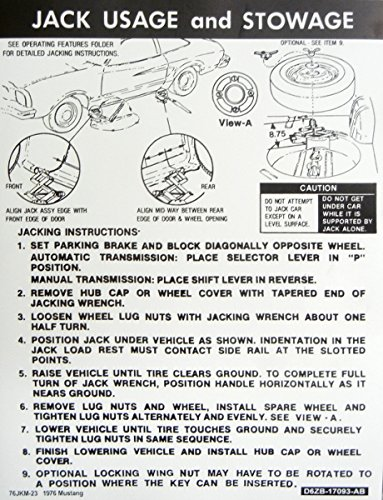 (1976 FORD MUSTANG JACKING INSTRUCTIONS & STOWAGE DECAL - For All Models - STICKER)