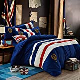 Men's England Academy wind cotton four set boy personalized coat of arms in Europe and America cotton four piece set,Queen,2