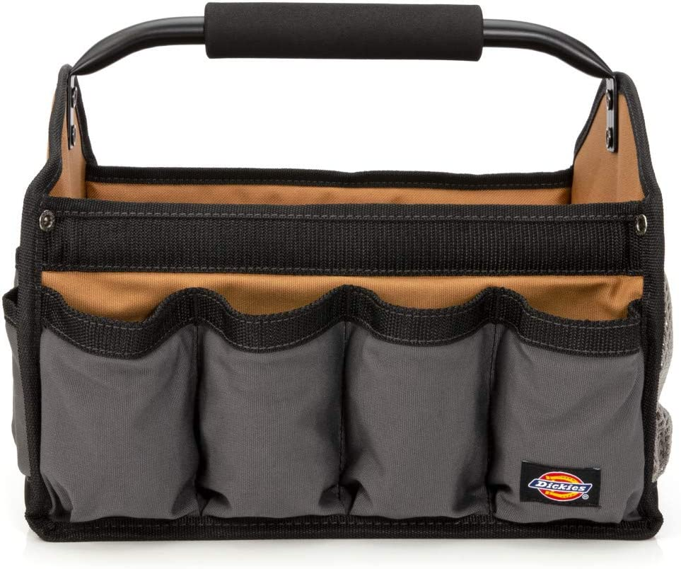Dickies 12-Inch Durable Canvas Tool Tote Bag Organizer, 12 Exterior Pockets, 16 Tool Loops, Grey Tan