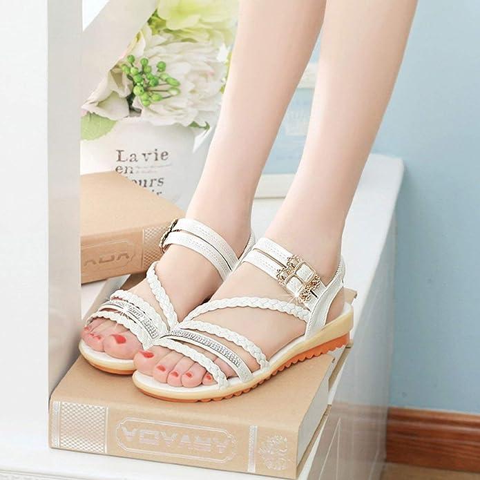 870e10e160b Moda Verano Mujer Sandalias elástico Correa del Tobillo Suela Suave Zapatos  Planos Sandalias  Amazon.es  Zapatos y complementos