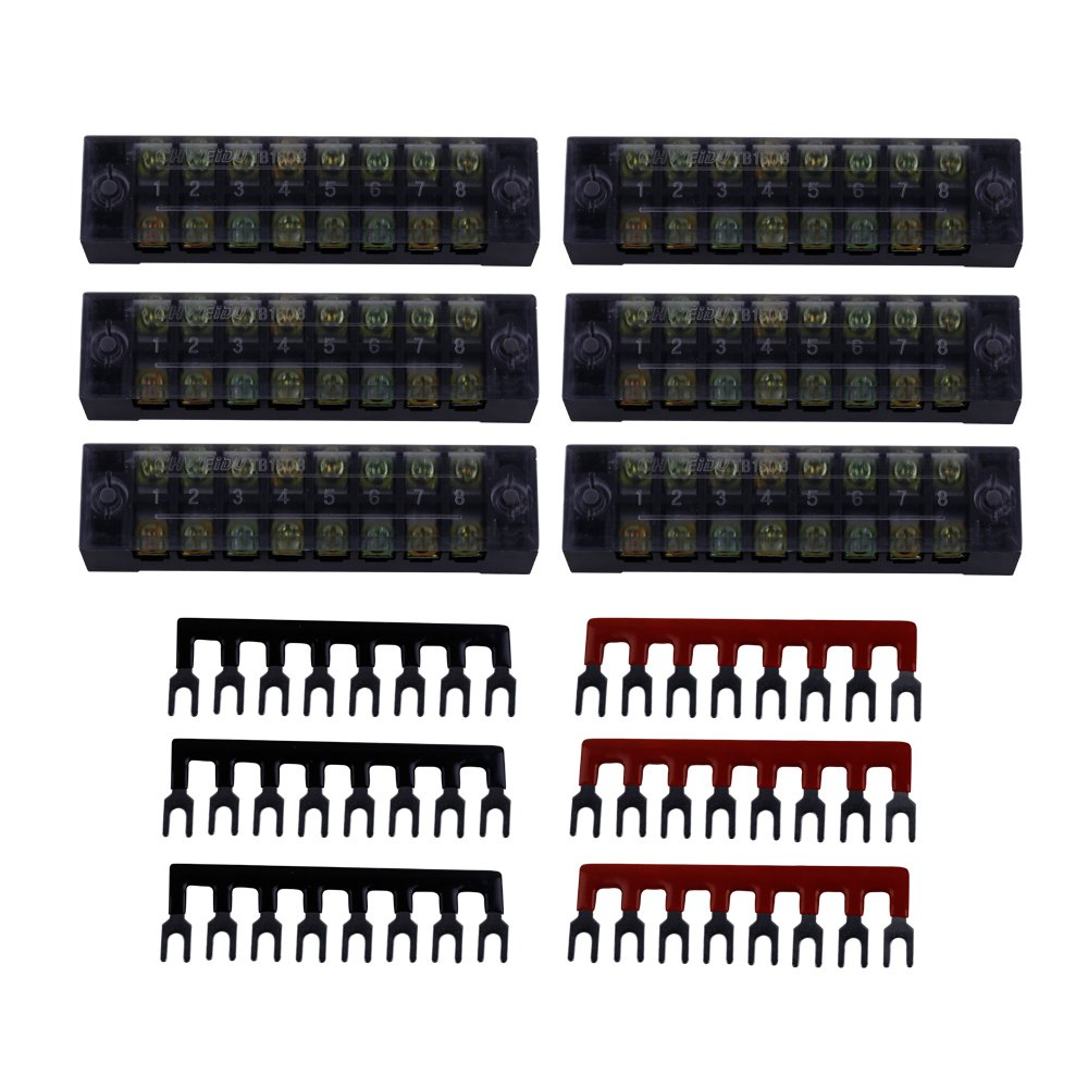 Eowpower 6Pcs 600V 15A Dual Row 8 Position Screw Terminal Strip and 6Pcs 400V 15A 8 Position Black/Red Pre Insulated Terminal Barrier Strip