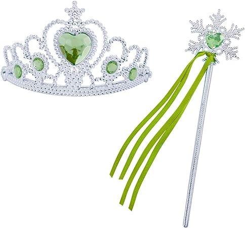 HenzWorld Girls Princess Costume Accessories Belle Mermaid Snow White Belle Rapunzel Fancy Dress Up Cosplay Crown Scepter Gloves Earring