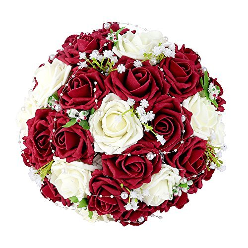 - Wedding Bridal Bouquet, Febou Wedding Bride Bouquet, Wedding Holding Bouquet with Artificial Roses Lace Pearl Ribbon, Perfect for Wedding, Church, Party and Home Decor(Heart Pearl, White+Dark Red)