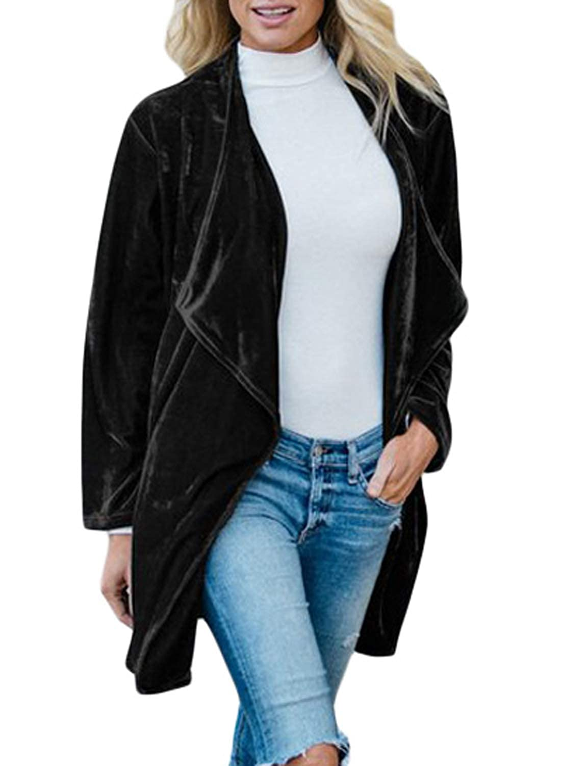 Dearlove Womens Velvet Lapel Draped Open Front Cardigan Pocket Jackets