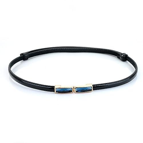 lureme®hebilla de la manera estrecha cintura del estiramiento ajustable cintura cinturón de piedra fría flaca de las mujeres (1300020) (negro)