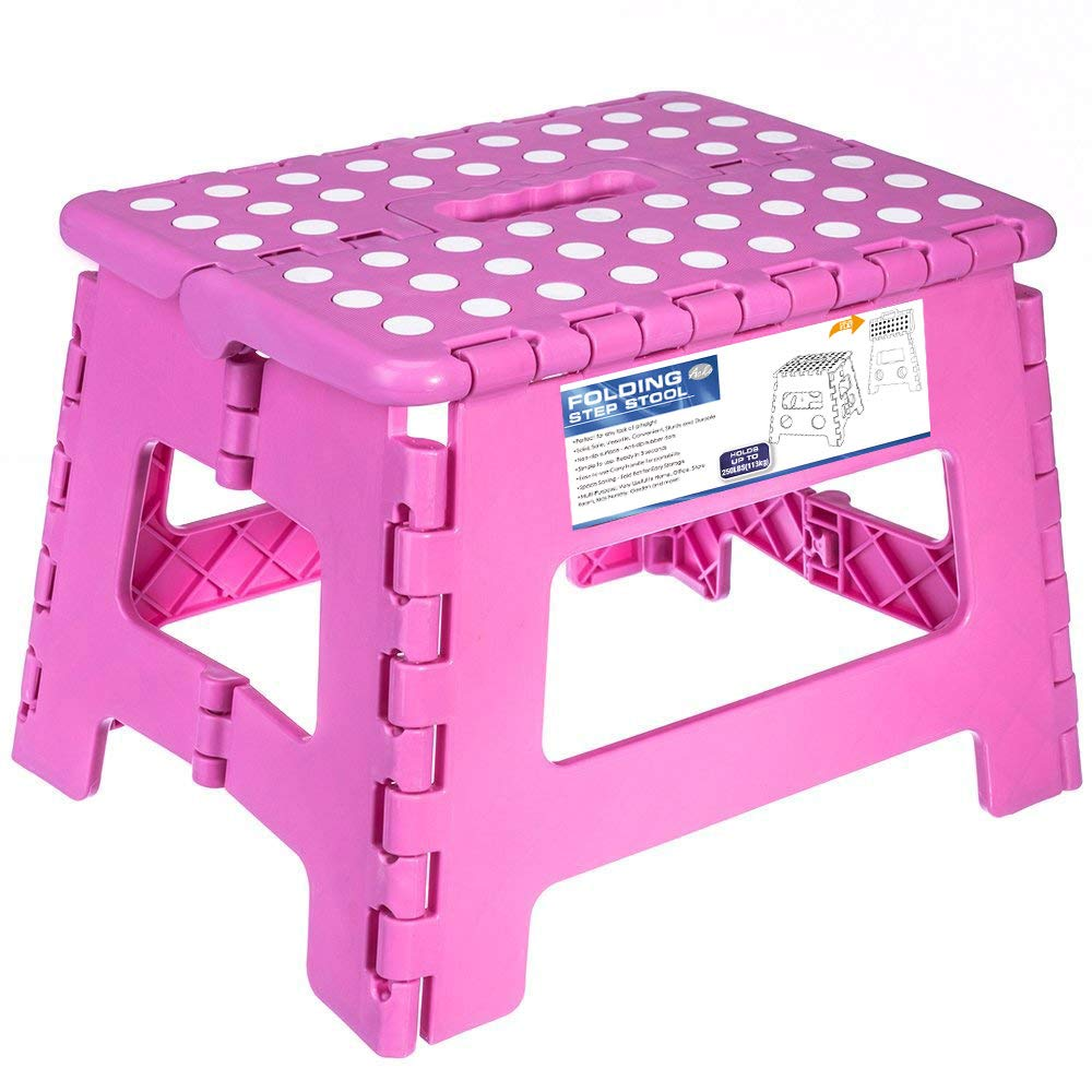 Acko Black 18 Inches Non Slip Folding Step Stool for Kids and Adults with Handle (9inch, Pink)
