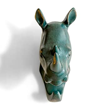 Amazon.com: HERNGEE Rhino Head Single Wall Hook / Hanger Animal ...