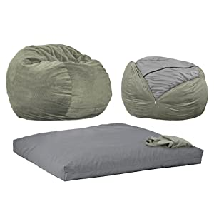 CordaRoy's Moss Chenille Beanbag Chair, Full Sleeper