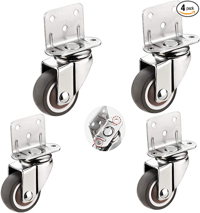 Casters Swivel Wheels for Cribs,with L-Type Bracket,Rubber Furniture Castor with Brakes,Mute,Ball Bearings,Capacity 65kg,4 Pack,with Screws Color : 4brake, Size : 38MM