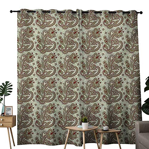 NUOMANAN Customized Curtains Ethnic,Persian Middle Eastern Floral Pattern with Traditional Folk Boho Effects,Sepia Eggshell Maroon,Blackout Draperies for Bedroom Living Room ()