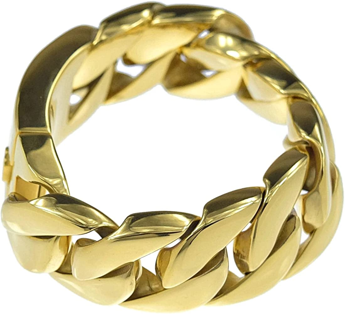 "Mens Huge 30MM Curb Cuban Gold Finish Heavy 316L Stainless Steel 8.5/"" Bracelet"