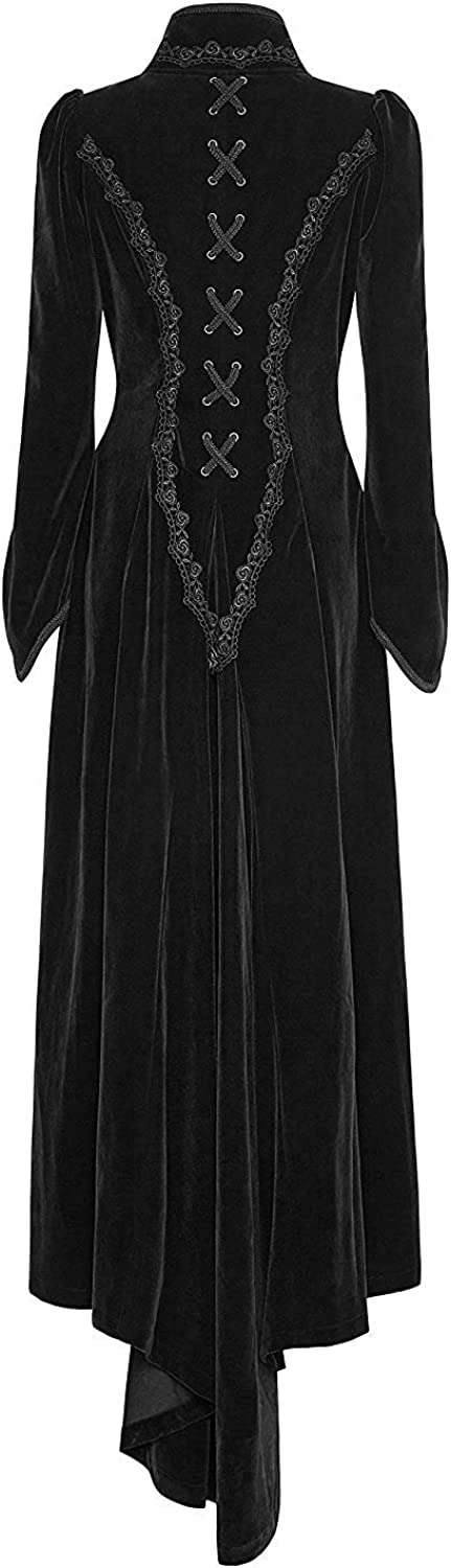 Punk Rave Black Velvet Gothic Victorian Palace Retro Long Dress Jacket for Women