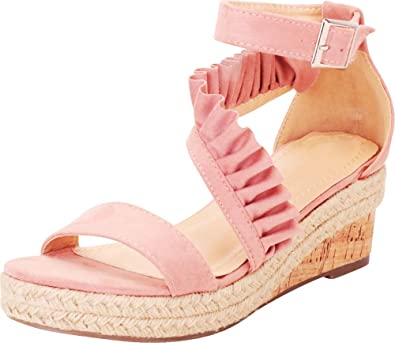 446af39b547 Cambridge Select Women's Strappy Ruffle Crossover Espadrille Platform Wedge  Sandal