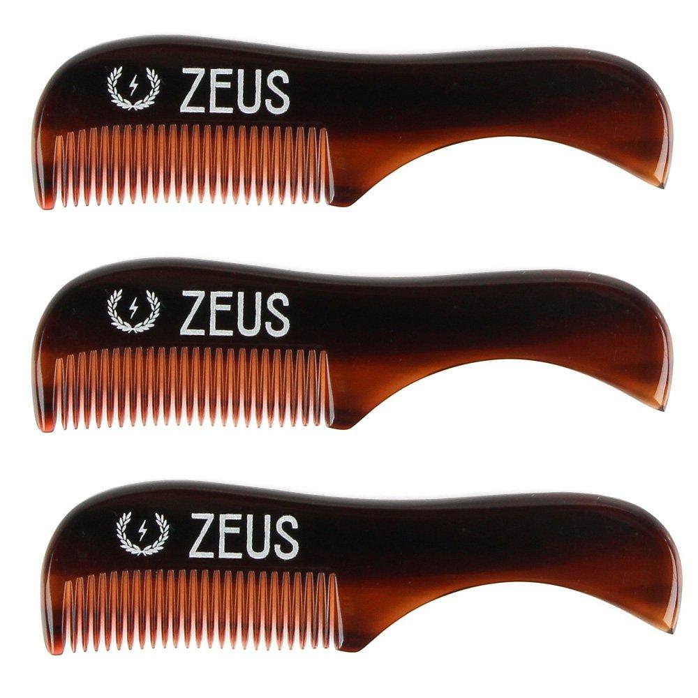Zeus Handmade Saw-Cut Mustache Comb - 3'' x 0.75''- 3 Pack - Quality Moustache Comb for Men