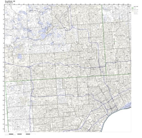 Southfield, MI ZIP Code Map Laminated