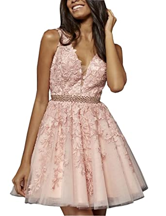A-line Short Prom Dresses Formal Dress V-Neck V Open Back Lace Beads