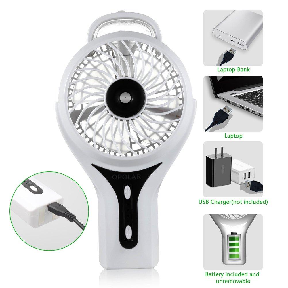 OPOLAR Handheld Misting Fan, Rechargeable Battery Operated Fan, 3 Settings, Water Spray Fan, Mini Portable Desk Fan, Humidifier Quiet Fan, 2200mAh Battery, Personal Cooling Fan for Outdoor, Home by OPOLAR (Image #5)