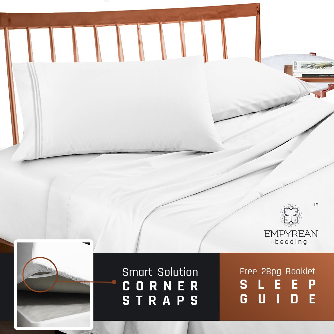 Premium Full (Double) Size Sheets Set - White Hotel Luxury 4-Piece Bed Set, Extra Deep Pocket Special Super Fit Fitted Sheet, Best Quality Microfiber Linen Soft & Durable Design + Better Sleep Guide by Empyrean Bedding (Image #8)