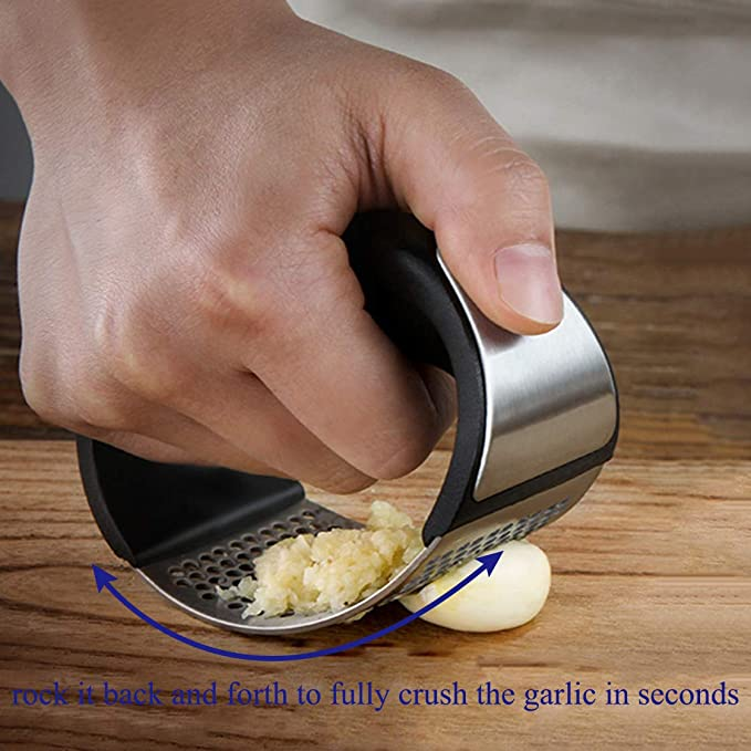 Stainless Steel Garlic Crusher Squeezer Slicer Mincer Chopper Kitchen Gadget Including 1 Garlic Peeler/& 1 Garlic Peeler Garlic Press Garlic Peeler Set Black