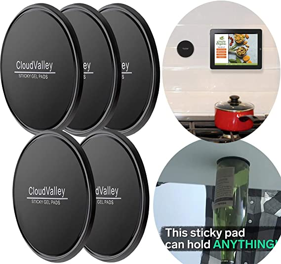mirrors kitchen cabinets and tile whiteboards Metal Sticky Pad Anti-Slip GEL fixate GEL PADS 6 PACK car GPS and many more can stick to glass