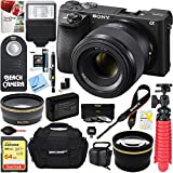 Sony ILCE-6500 a6500 4K Mirrorless Camera Body + 50mm E-Mount Lens + 64GB Memory Card + Large Gadget Camera Bag + PaintShop Pro + Slave Flash + Remote + Microfiber Cloth + Lens Cleaning Pen + More