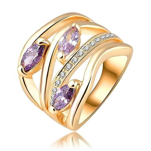 KNSAM Joyería de Moda 18K Chapado en Oro Anillo Compromiso de Mujer, Hoja Púrpura con