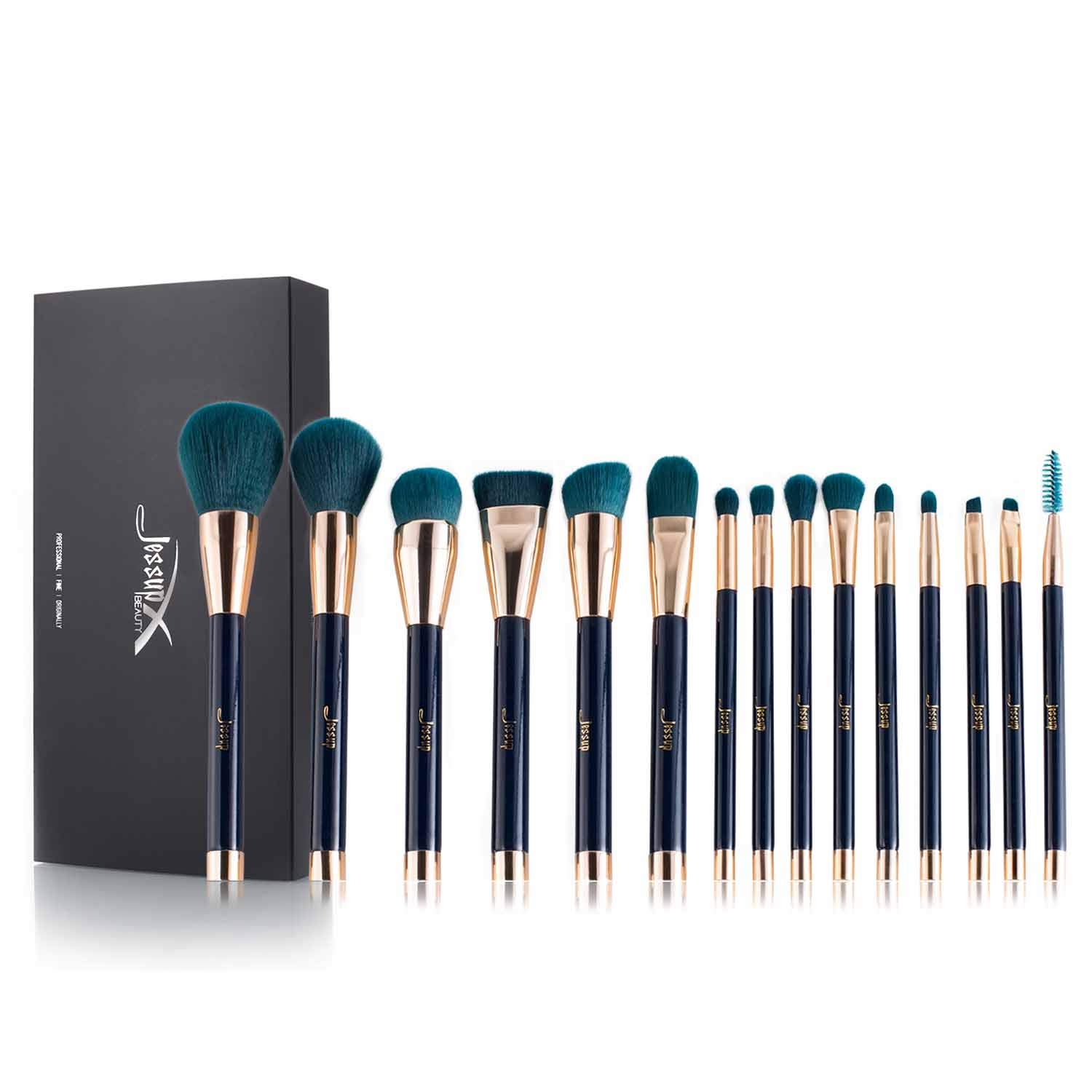Jessup 15pcs Makeup Brushes Set Powder Foundation Eyeshadow Eyeliner Lip Contour Concealer Smudge Brush Tool Blue/Darkgreen T113