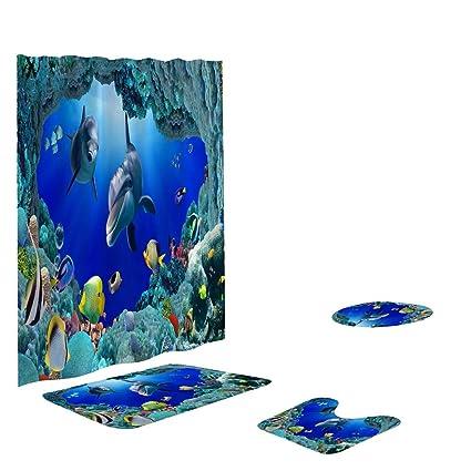 amazon com smallrabbit bathroom curtains set ocean shower curtain rh amazon com tropical fish bathroom sets
