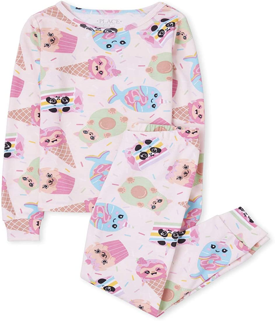 The Childrens Place Girls Long Sleeve Top and Pants Pajama Set
