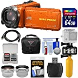 JVC Everio GZ-R440 Quad Proof Full HD Digital Video Camera Camcorder (Orange) + 64GB Card + Diving LED Light + Buoy Handle + Case + Tele/Wide Lens Kit