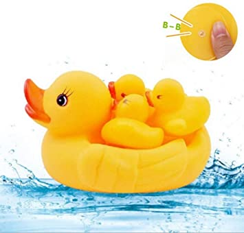 Squeaky Bathing Toys Water Rubber 4pcs Pool Baby Bathing Ducks Play Tub Floating