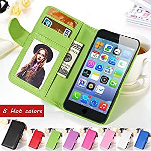 """Flip Wallet PU Leather Case For iPhone 6 4.7 Inches For iPhone 6 Plus 5.5"""" Stand Design With Photo Frame Phone Bag Cover Shell --- Color:Purple For iPhone 6"""