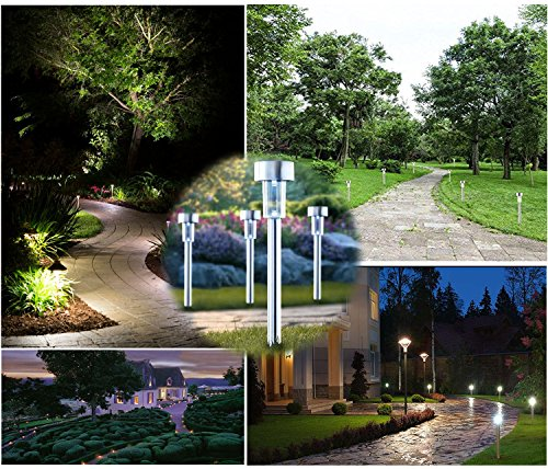 Alvivi Solar Path Lights Outdoor Garden solar Lights / Lawn Pathway Lights Stainless Steel Landscape Lights for Patio ... : stainless steel landscape lighting - azcodes.com