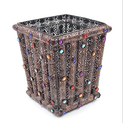 WXL Trash Can 5L Wrought Iron Acrylic Retro Storage Box Multi-Function Trash Can Paper - Pedal Bin Retro 5l