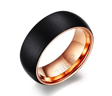 Vnox 8mm Mens Tungsten Carbide Black Wedding Band Ring Matte