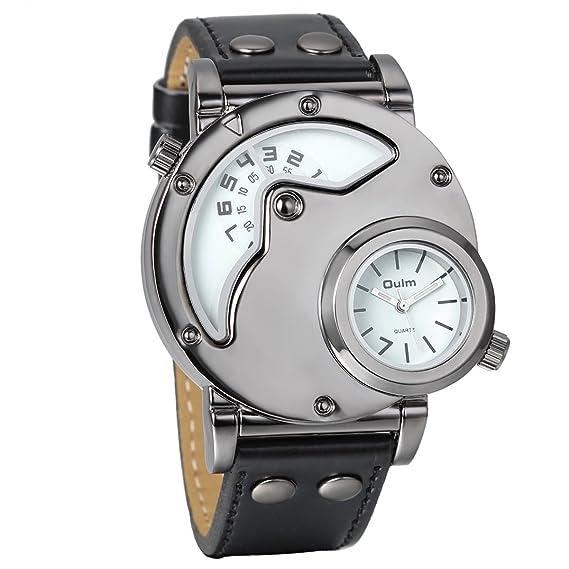 Reloj de pulsera de cuarzo analógico informal Avaner para hombre con esfera grande  de dos husos horarios y correa de piel sintética negra  Amazon.es  ... 78ae97ce3a8c