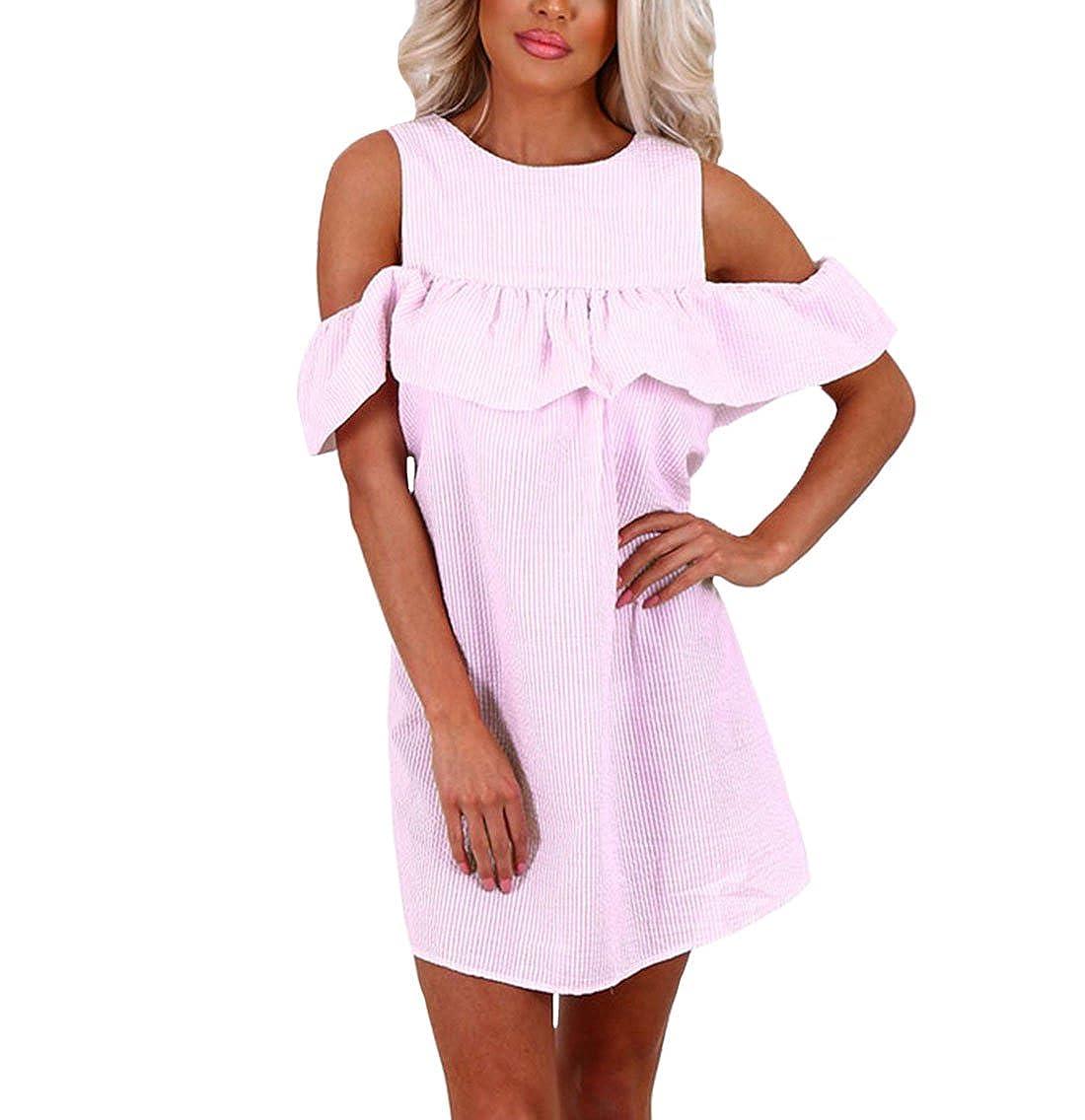 ZhiWanTing Damen Sommerkleid Elegante Schulterkleid mit Gestreift Kurze Minikleid