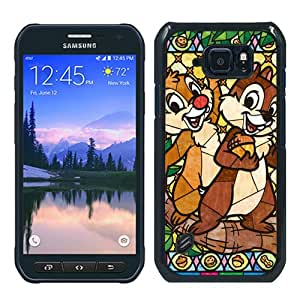 Cheap Abstract Samsung Galaxy S6 Active Case,Stained Glass Chip And Dale Black New Custom Design Samsung Galaxy S6 Active Cover Case